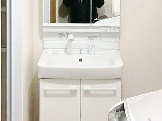 洗面リフォーム 腰を曲げずに使えるようになった洗面台